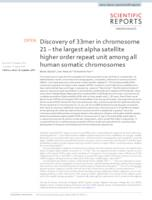 prikaz prve stranice dokumenta Discovery of 33mer in chromosome 21 – the largest alpha satellite higher order repeat unit among all human somatic chromosomes